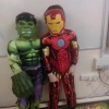 Bobby as iron man and Rían as the Hulk